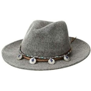 Western Trim Knit Grey Fedora Hat - NWT
